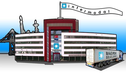 Idee für ein Screendesign, Illustration Containerhafen Bremerhaven