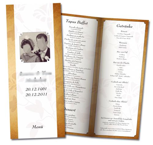 Hochzeitsmenue, individuelle Speisekarte