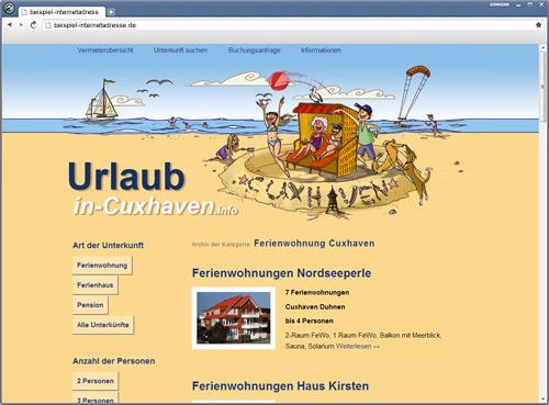 Portalseite / Internetauftritt für Vermieter von Ferinenwohnungen